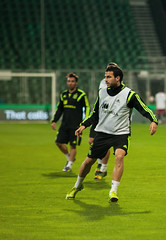 ZILINA, SLOVAKIA  - OCTOBER 8, 2014: Cesc Fabregas during a training session ahead Spain national team UEFA EURO 2016 qualifier against Slovakia (vadym.soloviov) Tags: world portrait playing game france cup field grass sport training ball foot football coach goal team spain october tour action stadium euro fifa soccer group 8 competition running center player professional tournament spanish international national match slovakia session preparation trainer forward defender goalkeeper practic