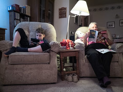 302/365, Generation gap (Mc Gale) Tags: playing magazine reading grandmother grandson granny relaxation 3ds