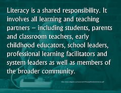 Educational Postcard: Literacy is a shared responsibility. (Ken Whytock) Tags: school students parents education classroom system professional future learning teaching leaders teachers partners literacy facilitators 21stcentury educators responsibilty