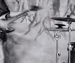 Guitar and Drums (cotswoldman) Tags: blackandwhite music blancoynegro monochrome mono noiretblanc gloucestershire rockband musicalinstruments classicrock blancetnoir gloucestercameraclub whosstoned