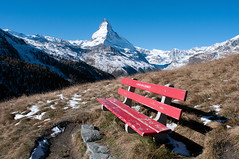 the wrong oriented bench... (Toni_V) Tags: red mountain alps nature bench landscape schweiz switzerland nikon europe hiking bank zermatt matterhorn alpen svizzera wallis vala