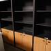 Tall beech grey bookcase unit