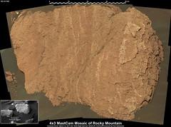 Mars: Photo Mosaic of Rocky Mountain (PaulH51) Tags: marssciencelaboratory mastcamright curiosityrover nasajplcaltechmsss planetmars galecrater exploration discovery sedimentaryrocks murraybuttes rocks mosaic msice volcanicsands sand murraygeologicalunit mudstone lakebedmudstone aeolianlandscape algorimancerpg scalebaradded bagnolddunes contrastenhanced geology