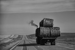 Hot Hay Day!!!   ...HTT! (jackalope22) Tags: htt hay truck hot nd dakota bales perspective leading lines