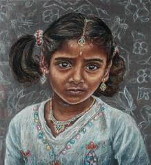 Tamil Girl with Kolam Designs (melissaenderle) Tags: india portrait kolam pastel tamilnadu girl jewlery child
