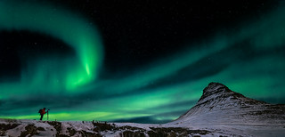 Northern lights over Kirkjufell mountain. Iceland.