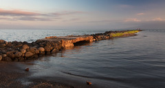 Fishing the Old Pier at Sunset (helenehoffman) Tags: shoreline beach ocean sunset molokai water rocks pier fishing smallboat hawaii pacific sea