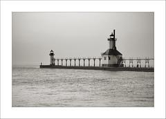 St. Joseph Light House (DJ Wolfman) Tags: stjoseph michigan michiganfavorites lighthouse lighthouses blackandwhite bw sony rx10 lakemichigan lake art