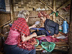 Lovely local lady weaving shawls in Ah Shay Phwar Saw village (Neville Wootton Photography) Tags: ahshayphwarsaw burma glenniswootton holidays kalaw lightroom myanmar onestoptraveltours people topazlabs