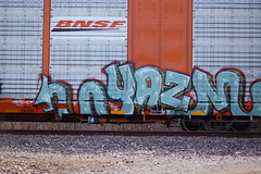 Yazm (Chicago City Limits) Tags: freight train graff graffiti benching rails railroad benched freights fr8s art artwork motion steel trains tracks auto racks rack autorack autoracks holy roller rollers yazm
