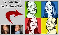 Modern gift for brother turning 50th - Pop Art Portraits from sister-brother photos (100 Photo Art Ideas) Tags: birthday collage photo picture photomontage brother sister girlfriend boyfriend mother father husband wife 20th 25th 30th 35th 40th 45th 50th 55th 60th 70th 80th