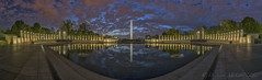 WWII Memorial Pano (D. Scott McLeod) Tags: wwii memorial wwiimemorial washingtondc nationalmall panorama dawn dramaticsky relfection dscottmcleod scottmcleod wallart