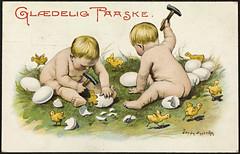 Glædelig Paaske / Happy Easter (National Library of Norway) Tags: nasjonalbiblioteket nationallibraryofnorway postkort postcards påskekort eastercards jennynystrøm påskekyllinger egg barn children påskeegg