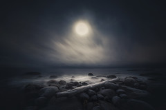 Moon. (Night photographs from Finland) Tags: night finland moon foolmoon stars ocean water rocks mystical photography dark colorful canon samyang14mm clouds