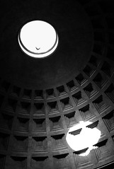 Pantheon (Sober Rabbit) Tags: architecture architecturalfeature bird blackwhite structure ceiling circle daylight hole eye geometry geometricshape lightshadow roma silhouette pantheon ancientrome