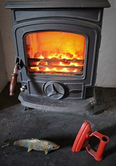 Toasty (JulieK (enjoying Spring in Co. Wexford)) Tags: 117picturesin2017 2017onephotoeachday canoneos100d hearth stanleystove fireplace fire coal warmth iron koi decorative