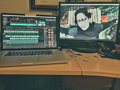 Making the Video, Midnight Oil (Gorac) Tags: dgphoto spoiler preview macbookpro finalcutprox secondmonitor videoediting production editing finalcut finalcutpro apple 2ndmonitor workspace workstation office spoileralert project sneakpeek marilynmanson musicvideo makingthevideo midnight burningmidnightoil nightowl