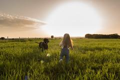 Summer Dream (Bai R.) Tags: spring girl niños child sunset puesta sol grass green hierba verde dog