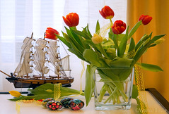 Life's a journey (nyomee wallen) Tags: lifesajourney loveboat easter spring nature flowers tulips springflowers flowersandfun birthday lace yellow yellowlace