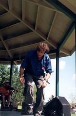 SF - Benoit dancing 2 (rumimume) Tags: rumimume 90s owensound ontario canada kelsobeach photo music festival summerfolk performer outdoors people folk fun summer august weekend vintage scan