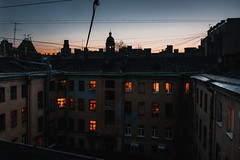 Saint P roofs (konstantinkulak) Tags: roof roofing architecture windows evening dusk sunset sky church wires cityscape russia wideangle extreeme nikon house building old abandoned