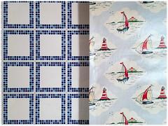 Villefranche-sur-Mer, 2017 (Exit Imago) Tags: france curtain blue tile villefranchesurmer room sailboat bathroom sailingboat ~colour