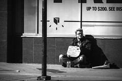 Food And Coffee. Windsor, ON. (Pat86) Tags: blackandwhite foodandcoffee sparechange panhandler man photooftheday windsor nikond500 streetphotography