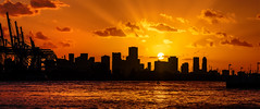 Miami Skyline Sunset (Insite Image) Tags: miami florida skyline sunset silhouette orangesky water southpointepark downtown miamisunset cityscape city