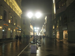 Nikolskaya street (VERUSHKA4) Tags: lighting street city autumn houses girls light people building window wet lamp fog architecture night canon evening october europe cityscape view russia moscow centre perspective historic rue vue kremlin farole hccity