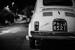 Nuova 500 [Explored] (Franck_Michel) Tags: bw white black car night noir fiat bokeh voiture nb explore bumper l 500 nuit blanc parechocs