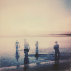 (mister sullivan) Tags: ocean sea people film beach wales swim polaroid doubleexposure paddle silhouettes instant portmeirion anonymous polaroidweek roidweek impossibleproject px680 festivalnumber6 instantlab roidweek2014