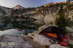 Best Campsite Ever (Dan Sherman) Tags: camping autumn light sun mountain lake mountains reflection fall oregon sunrise landscape mirror daylight view unitedstates hiking mirrorlake peak tent explore backpacking granite pacificnorthwest vista backcountry serene wallowa wilderness enterprise mountainlake pnw campsite waterscape eaglecapwilderness wallowamountains northeastoregon eaglecap mountainreflection