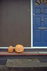The Morning After (Daire Quinlan) Tags: colour film halloween 35mm death 50mm costume scary nikon kodak grim reaper witch trickortreat mark f14 flash pumpkins f100 lara frankenstein nikkor xl 100asa asa100 quinlan c41 profoto adamovic