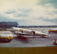 Air Anglia DC-3 G-AOBN, Manchester, 25-4-73e (Proplinerman) Tags: manchester aircraft douglas dc3 dakota 1973 airliner c47 ringway propliner airanglia gaobn