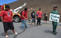 TMT blockade on Mauna Kea (Occupy Hilo) Tags: road hawaii protest telescope sacred astronomy block meter blockade piko aloha maunakea thirty aina tmt wakea buildingtmt