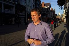 Dad shirt (Gary Kinsman) Tags: shirt cheshire candid stripes streetphotography streetlife chester 2014 eastgatestreet dadshirt fujix100 fujifilmfinepixx100