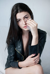 Alexandra (lucrecia lee) Tags: portrait woman sexy girl face fashion hand cigarette gorgeous longhair smoking freckles graceful youngwoman leatherjacket stylish darkhair
