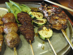 6 skewers - green beans, chicken, chicken meatballs, beef, squash, chicken wings (theminty) Tags: losangeles japanesefood yakitori dtla littletokyo skewers downtownlosangeles ricebowl soboro meatonsticks theminty themintycom