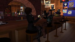 Blarney Stone Beers (alexandriabrangwin) Tags: world irish woman black leather night computer fun evening 3d pub graphics dress boots beers traditional drinks secondlife virtual casual stools cgi drnk patrons governess theblarneystone mondybristol alexandriabrangwin
