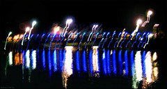 Heartbeat of Linedance (Emil de Jong - Kijklens) Tags: blue light night licht movement blauw nacht moved brug beweging bewogen heerhugowaard hartfilm kijklens