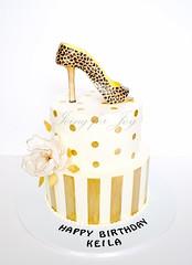 (Icing for Joy) Tags: birthday gold stripes polkadots birthdaycake leopard 50birthday sugarflower leopardprintshoe 50thbirthdaycake fantasyflower goldcake fondantflower fondantshoe goldandblackcake