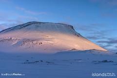 Volcano in winter twilight