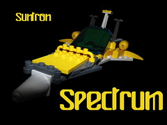 Suntron Spectrum Scout Ship (Harding Co.) Tags: blue white yellow grey flying wings university lego space pipes cockpit scout scifi vehicle spaceship uni fin minifigure minifigures minifigscale suntron