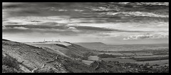 Panorama looking west - Black & White (Chris Waddell) Tags: uk panorama sussex nikon f28 d800 devilsdyke 2770mm