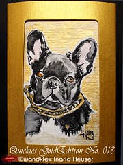 GoldEdition wandklex Quickies Gold Edition No.013 French Magic Bullie Fanny (wandklex Ingrid Heuser freischaffende Künstlerin) Tags: colour ingrid water metal germany painting french gold golden glamour hand magic pug rottweiler card watercolour edition greeting luxury luxus kennel quickies mops aquarell ratzeburg malerei heuser unikat einzelstück goldedition gruskarte gruskarten wandklex metaledition goldfarbne frenchei westentaschenkunst