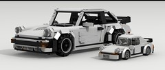 Porsche 911 Turbo (large scale and minifigure scale) (Tom.Netherton1) Tags: city classic cars scale car vw digital race speed vintage germany power lego pov designer 911 large super turbo german porsche legos download 1970s 1980s supercar dropbox speedster 930 racer povray ldd lxf
