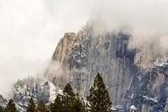 Veiled Face (Kirk Lougheed) Tags: california snow clouds landscape nationalpark yosemite halfdome yosemitenationalpark yosemitevalley clearingstorm