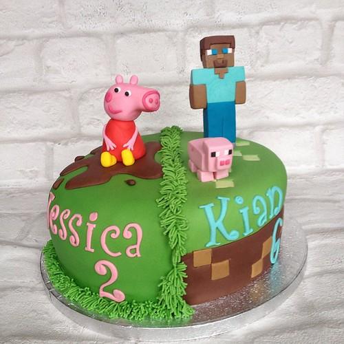 Super Joint Cake Of Peppa Pig And Minecraft Birthdaycake Peppapig Funny Birthday Cards Online Eattedamsfinfo