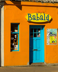 Babalu in Iceland (ronnymariano) Tags: street door blue orange color architecture iceland cafe reykjavik doorway babalu 2013