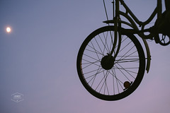 Cycling to the moon (Cedpics) Tags: sunset sky moon bike lune ciel